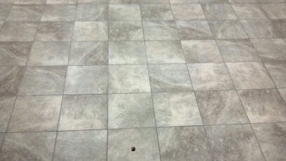 tile floor complete ready for cabinets.
